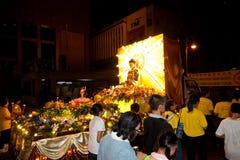 Devotos y flotadores de Buddhish en la procesión del wesak fotos de archivo libres de regalías