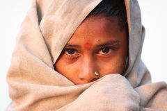 Devout Hindu pilgrim in Maheshwar, India Stock Photos