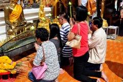 Chiang Mai,TH: Thais Praying at Wat Doi Suthep Stock Image