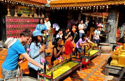 Chiang Mai,TH: People Praying at Wat Doi Suthep Stock Photos