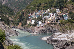 Devprayag and Ganges river, India Stock Photography