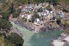 Devprayag und der Ganges, Indien Lizenzfreie Stockfotos