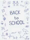Devuelva exhausto a bosquejo de la escuela en el papel ajustado del cuaderno Foto de archivo libre de regalías