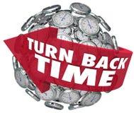 Devuelva la esfera del reloj de la flecha del tiempo Fotografía de archivo