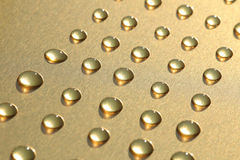 Dew drops on gold metallic background Royalty Free Stock Image
