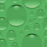 Dew on a green background. Seamless pattern. Realistic pure water, isolated transparent drops. Design for website background, textile, tapestries, packaging Stock Image