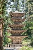 Dewa Sanzan ` s opowieści pagoda na Japonia ` s sławnej górze Haguro obrazy stock