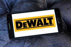 DeWalt company logo. Logo of DeWalt company on samsung mobile. DeWalt is an American worldwide brand of power tools and hand tools for the construction Stock Image