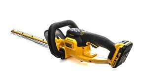 DeWalt cordless Hedge Trimmer on a white background Royalty Free Stock Image