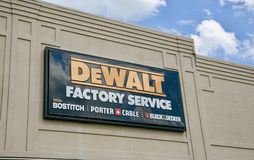 DeWalt Factory Service. Dewalt factory store is a hardware store that sells hand tools, garage tools, yard equipment, air tools, mechanic tools and other Royalty Free Stock Photos