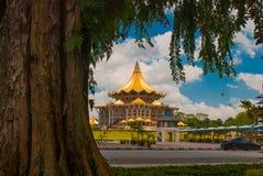 Dewan Undangan Negeri Sarawak. Sarawak State Legislative Assembly in Kuching, Sarawak, Malaysia. The landscape of the building in the trees Royalty Free Stock Photos