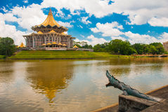 Dewan Undangan Negeri Sarawak. Sarawak State Legislative Assembly in Kuching, Sarawak, Malaysia. Monument to the crocodile. Stock Photography