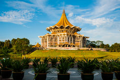 Dewan Undangan Negeri Sarawak. Sarawak State Legislative Assembly in Kuching, Sarawak, Malaysia. View landscape in Sunny weather Royalty Free Stock Photography