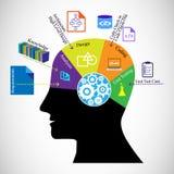 Deweloperu oprogramowania mózg i różne fazy oprogramowanie rozwoju cykl Fotografia Stock