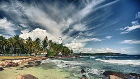 Dewundara lighthouse Sri Lanka, Timelapse video Royalty Free Stock Photography