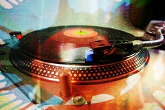 Dex spin glitter. A turntable with an abstract glittery pattern overlayed stock illustration