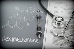 Dexamethasone,概要化学制品,反对肺结核脑膜炎的缓和关心 库存照片