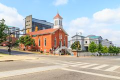 Dexter Avenue King Memorial Baptist Church. Historic Dexter Avenue King Memorial Baptist Church located in downtown Montgomery, Alabama.  Once pastored by the Royalty Free Stock Photos