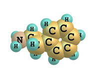 Dextroamphetamine (dexamphetamine) molecular structure on white Royalty Free Stock Photography