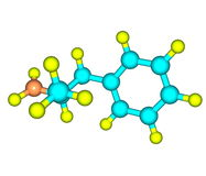 Dextroamphetamine (dexamphetamine) molecular structure on white Stock Images