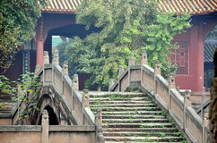 Deyang, China: Pan Bridge at Confucian Temple. One of three beautiful Pan Bridges with their stone stairs and lion balustrades spanning the Pan Pond and leading Stock Photos
