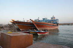 Traditional ships. Iranian traditional port, Deylam, with a lot of launches anchored near Persian gulf Royalty Free Stock Photos