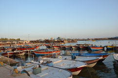 Deylam. Iranian traditional port, Deylam, with a lot of launches anchored near Persian gulf Stock Photo