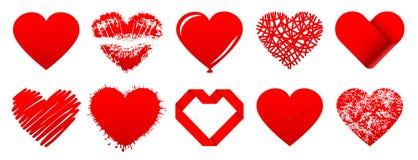 Dez ícones diferentes dos corações vermelhos ilustração stock