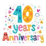 Dez anos de projeto decorativo do texto da rotulação da celebração do aniversário Imagens de Stock Royalty Free
