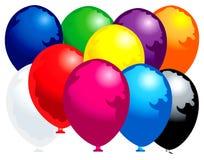 Dez balões coloridos Fotos de Stock Royalty Free