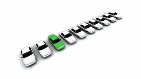 Dez carros, um verde! Foto de Stock Royalty Free