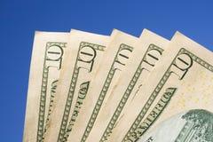 Dez contas de dólar Foto de Stock