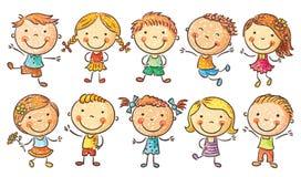 Dez crianças felizes dos desenhos animados Imagens de Stock