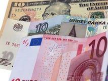 Dez dólares, rublos, euro- notas de banco Fotos de Stock
