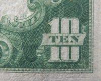 Dez 10 dólares de moeda dos E.U. Foto de Stock