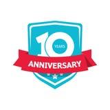 Dez 10 do aniversário anos de vetor da etiqueta, etiqueta do partido do azul 10o Fotos de Stock
