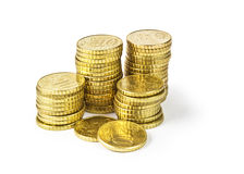 Dez euro- pilhas dos centavos Fotos de Stock