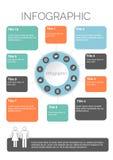 Dez Infographics quadrado colorido com projeto dos ícones Imagens de Stock Royalty Free