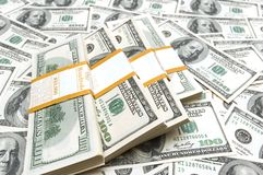Dez mil pilhas do dólar Foto de Stock Royalty Free