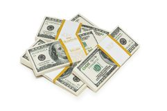 Dez mil pilhas do dólar no branco Imagens de Stock