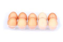 Dez ovos em um pacote transparente plástico Imagens de Stock Royalty Free