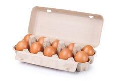 Dez ovos marrons em um pacote da caixa Fotos de Stock Royalty Free