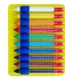 Dez pastéis de cera coloridos imagem de stock