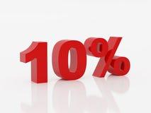 Dez por cento da cor vermelha Imagens de Stock Royalty Free