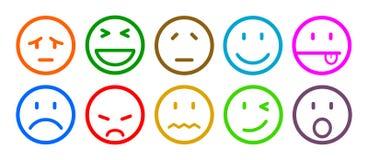 Dez smilies, ajustaram a emoção do smiley, por smilies, emoticons dos desenhos animados - vetor ilustração royalty free