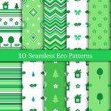 Dez testes padrões sem emenda do eco em cores verdes e brancas ilustração royalty free