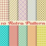 Dez testes padrões sem emenda do vetor diferente retro Foto de Stock Royalty Free