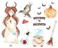Deze Halloween-reeks omvatte magische ketel, oog, bezem, weinig heks, knuppels, gekke pompoen stock illustratie