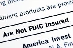 Deze investering is geen verzekerde FDIC Stock Foto's