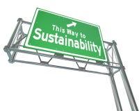 Deze Manier aan het Teken Vernieuwbare Middelen Viab van de Duurzaamheidssnelweg Royalty-vrije Stock Afbeelding